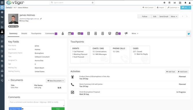 Mà hình quản lý Contact của Vtiger.