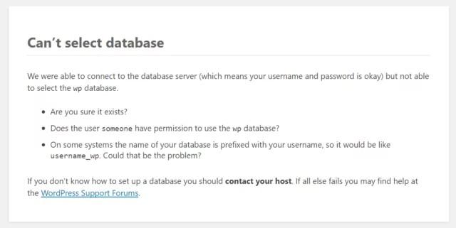 error establishing a database connection wordpress